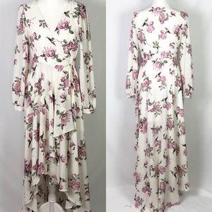 Lulus Let It Be White Floral Print Maxi Dress